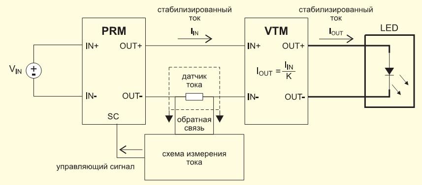 Схема источника постоянного тока на базе модулей PRM и VTM