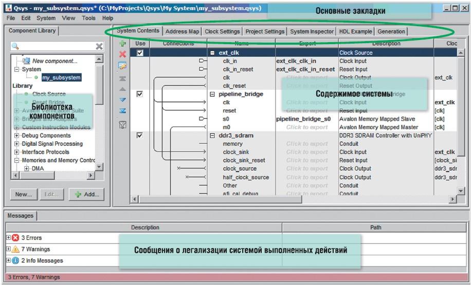 Основной вид интерфейса пользователя утилиты <strong>QSYS</strong>
