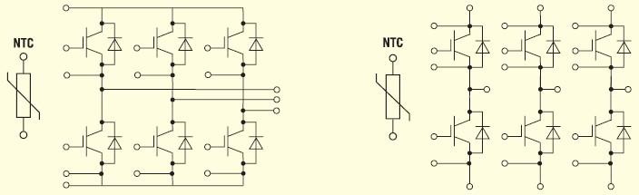 Конструкция IGBT модулей MWI, MIEB и MIXA…W… семейства
