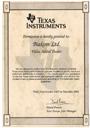 Certificate Texas Instruments